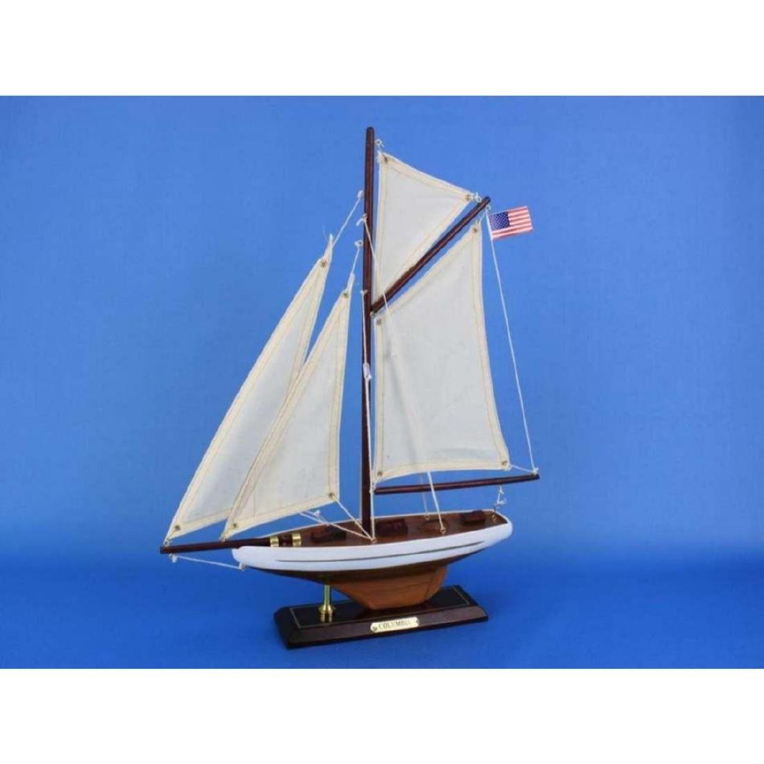 "Wooden Columbia Model Sailboat Decoration 16"" - 3"