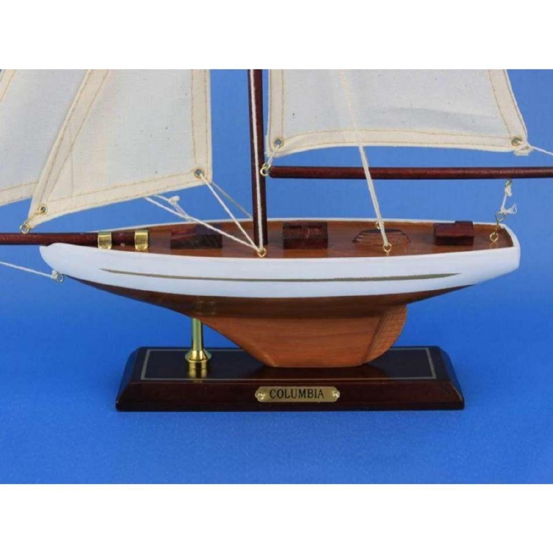 "Wooden Columbia Model Sailboat Decoration 16"" - 5"
