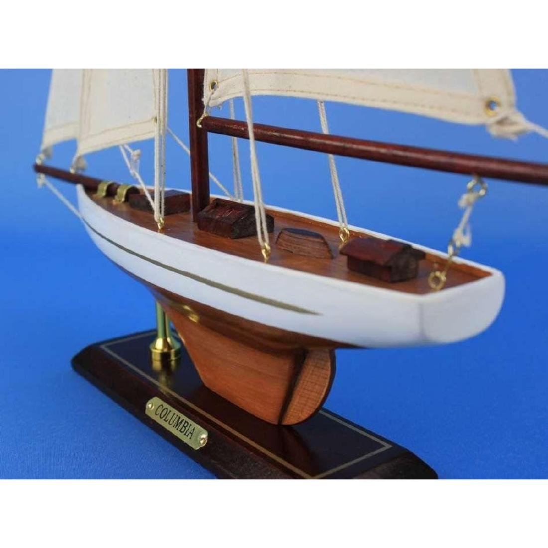 "Wooden Columbia Model Sailboat Decoration 16"" - 6"