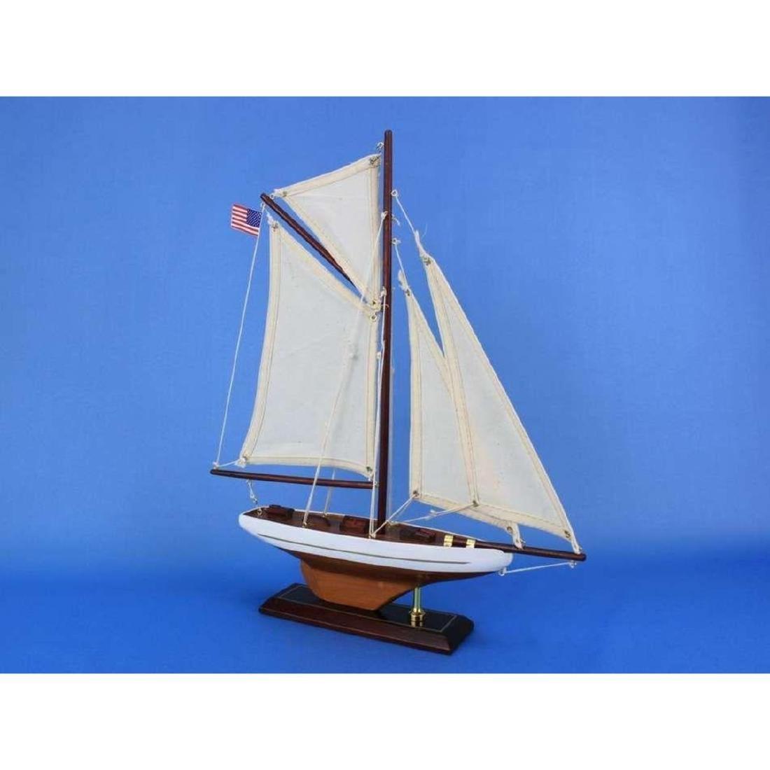 "Wooden Columbia Model Sailboat Decoration 16"" - 7"