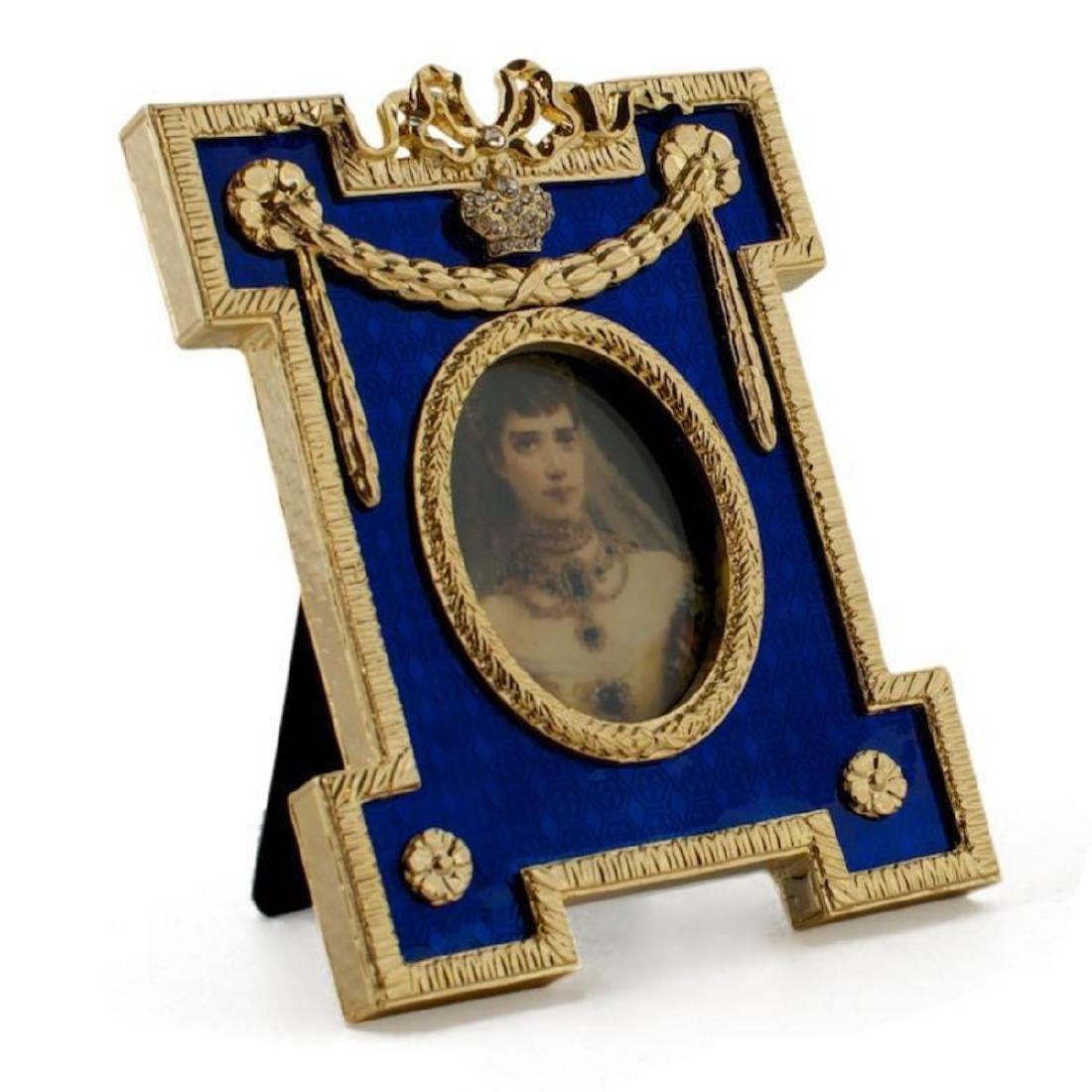 Blue Enameled Guilloche Russian Royal Picture Frame