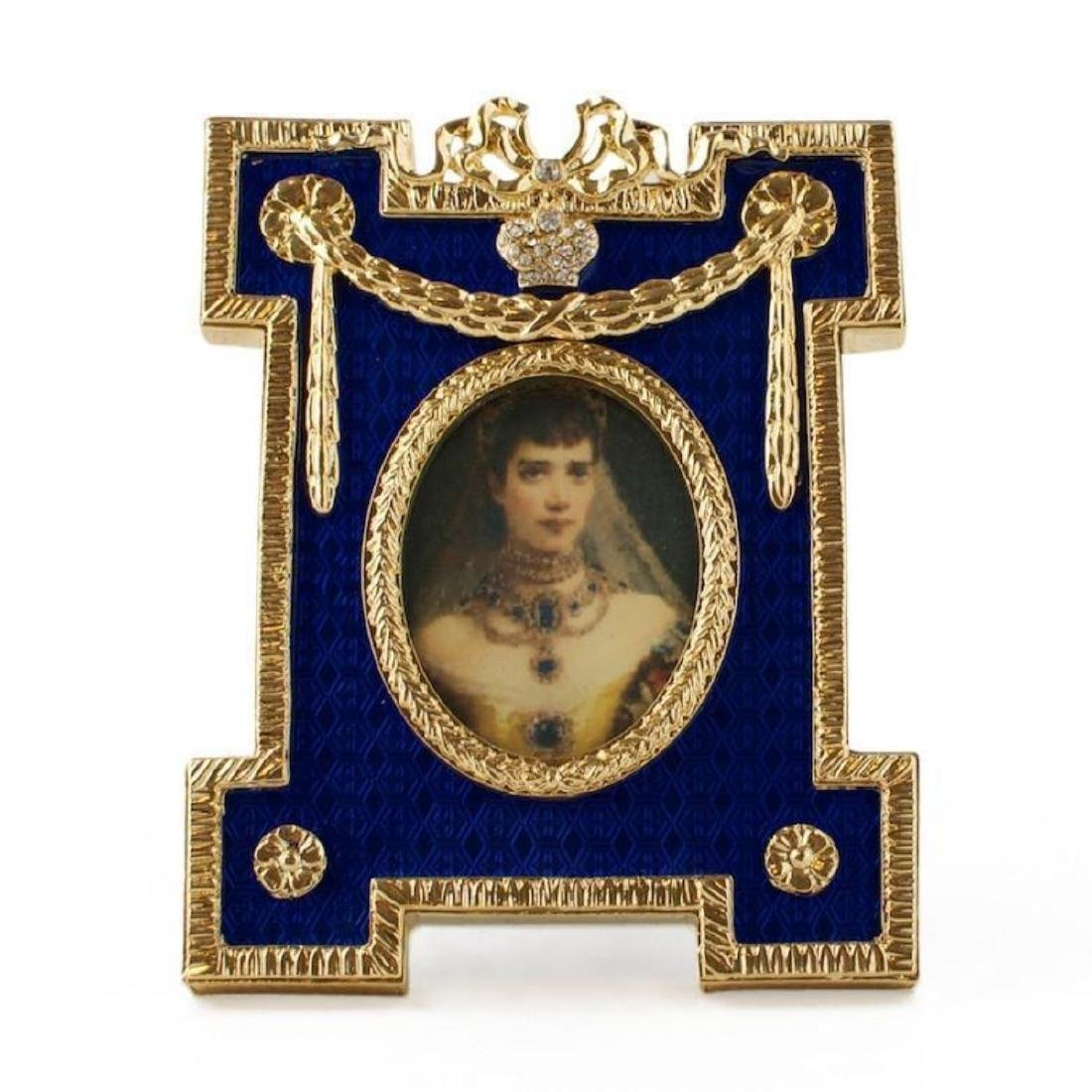 Blue Enameled Guilloche Russian Royal Picture Frame - 2
