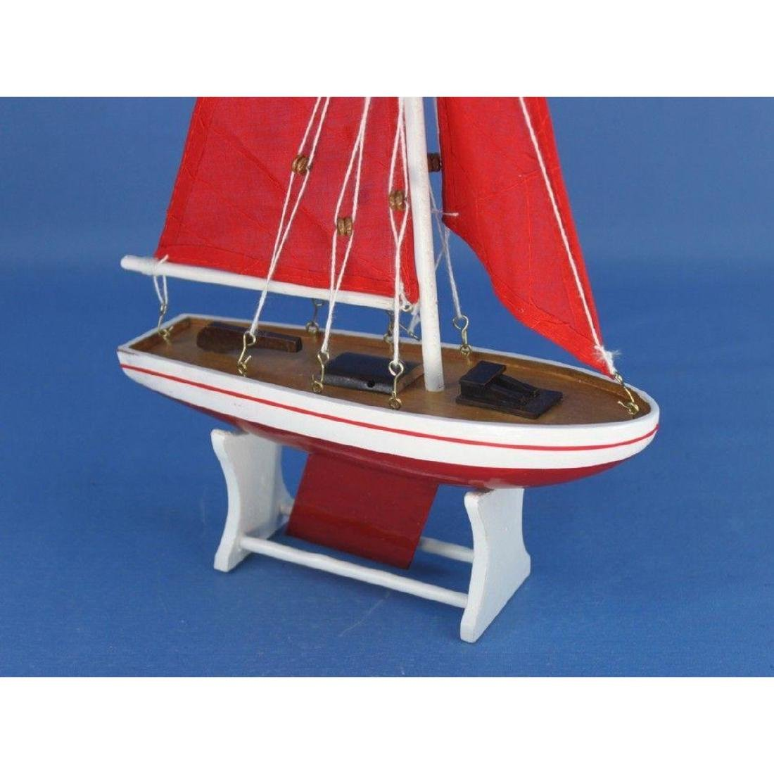 "Wooden It Floats 12"" - Red with Red Sails Floating - 10"