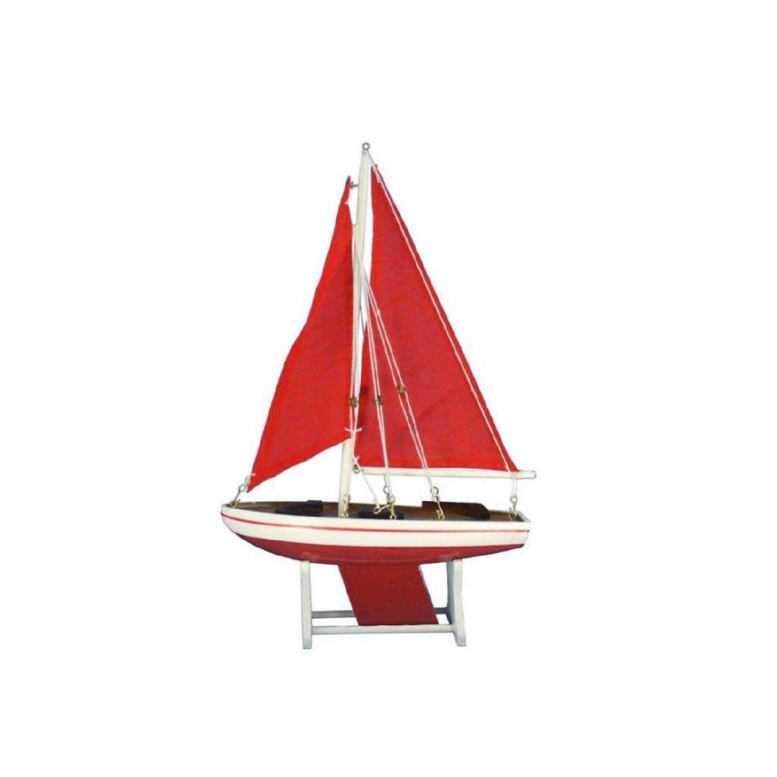 "Wooden It Floats 12"" - Red with Red Sails Floating"