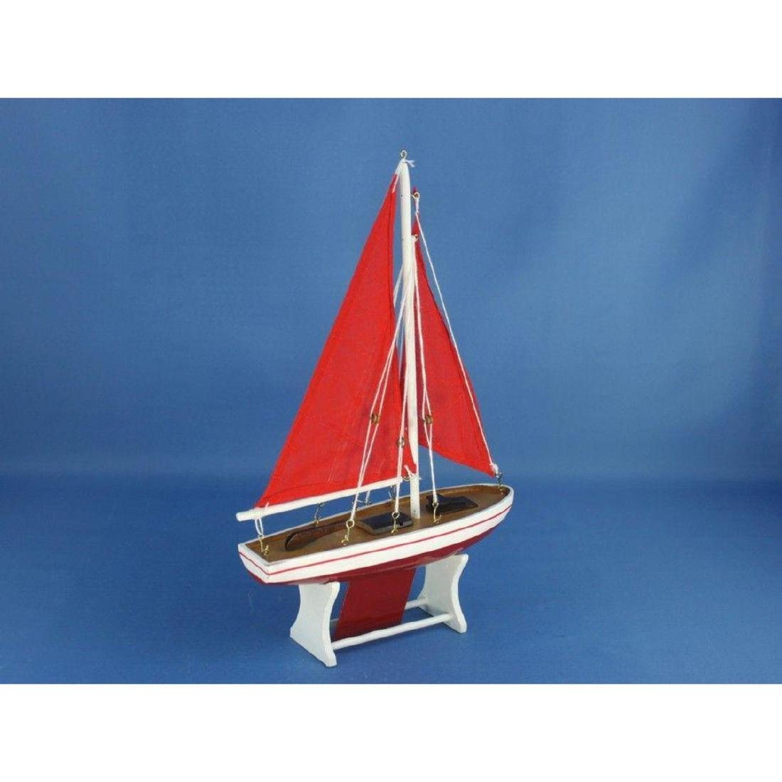 "Wooden It Floats 12"" - Red with Red Sails Floating - 2"