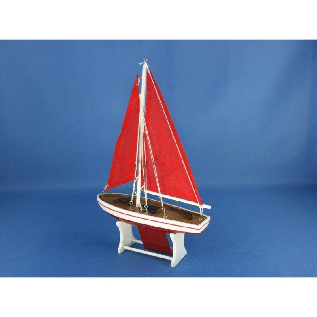 "Wooden It Floats 12"" - Red with Red Sails Floating - 3"