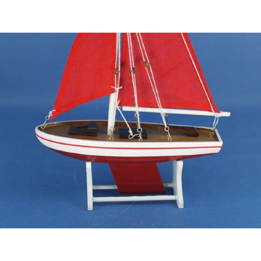 "Wooden It Floats 12"" - Red with Red Sails Floating - 4"