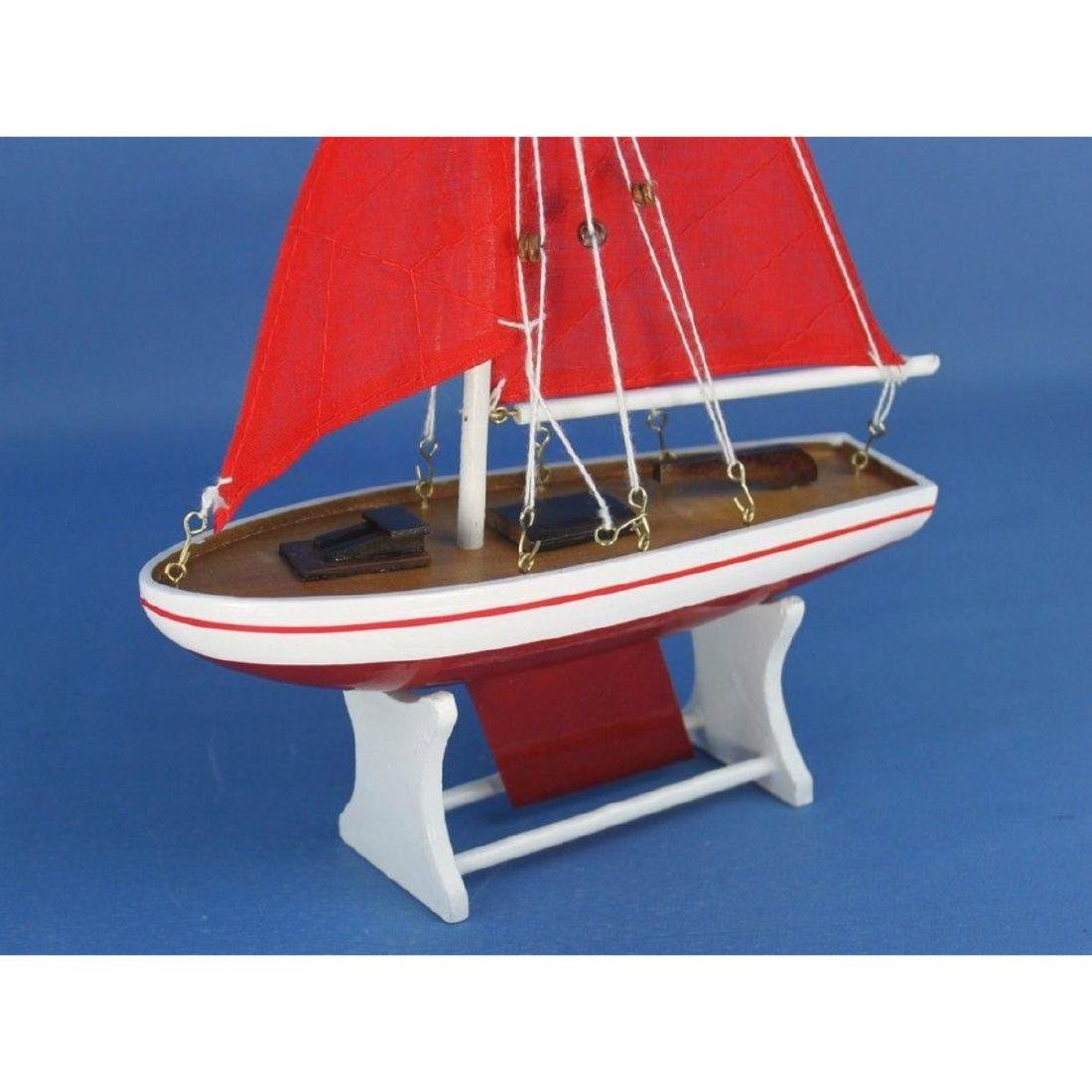 "Wooden It Floats 12"" - Red with Red Sails Floating - 5"