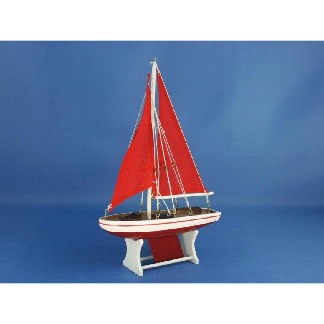 "Wooden It Floats 12"" - Red with Red Sails Floating - 6"