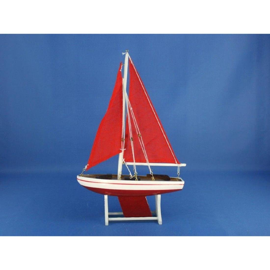 "Wooden It Floats 12"" - Red with Red Sails Floating - 8"