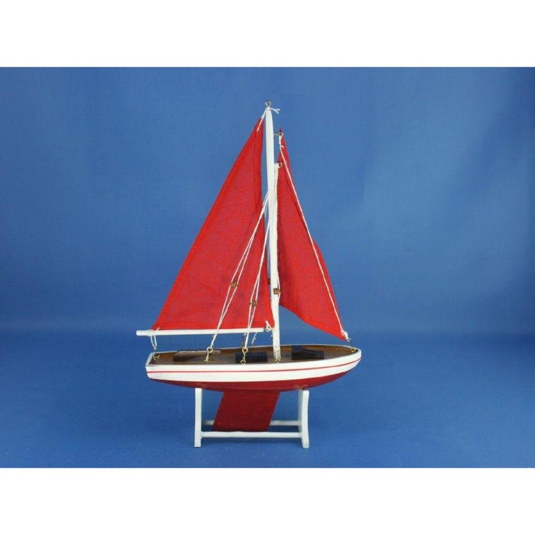 "Wooden It Floats 12"" - Red with Red Sails Floating - 9"