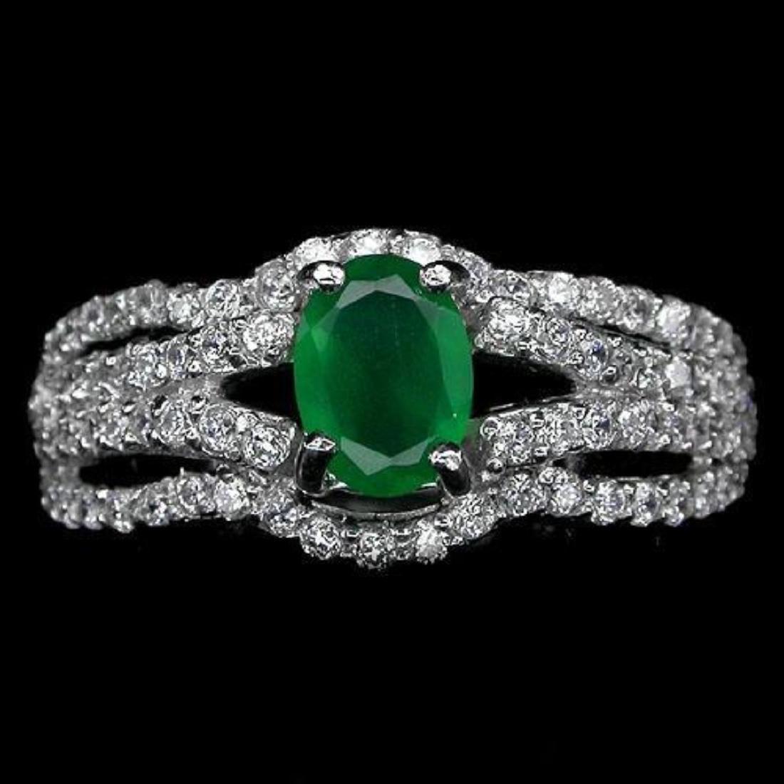 Elegant Green Aventurine Sterling Silver Ring - 2