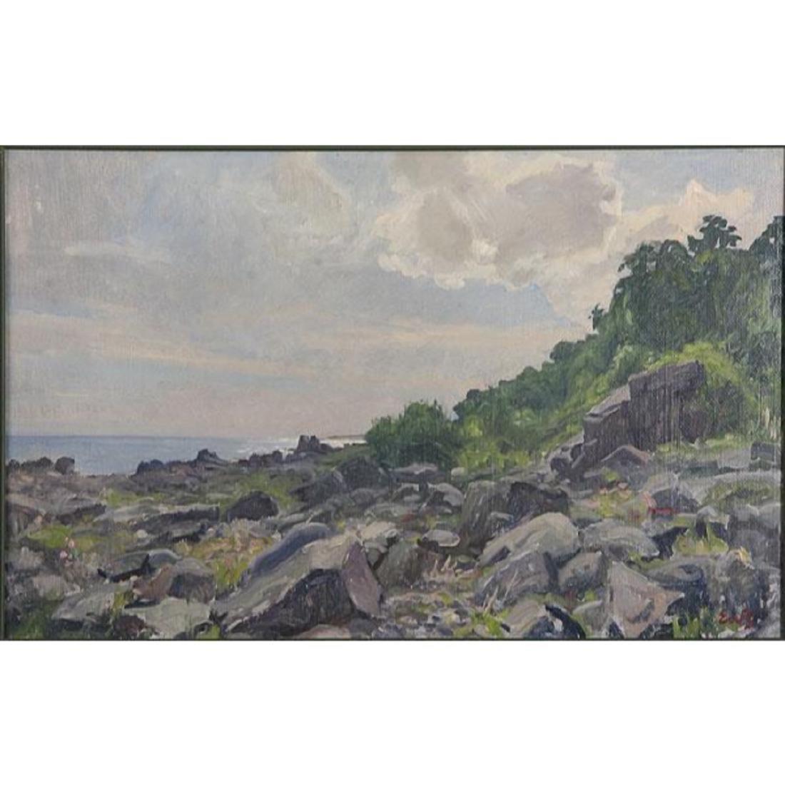 Signed Danish Coastal Landscape Oil Painting - 2