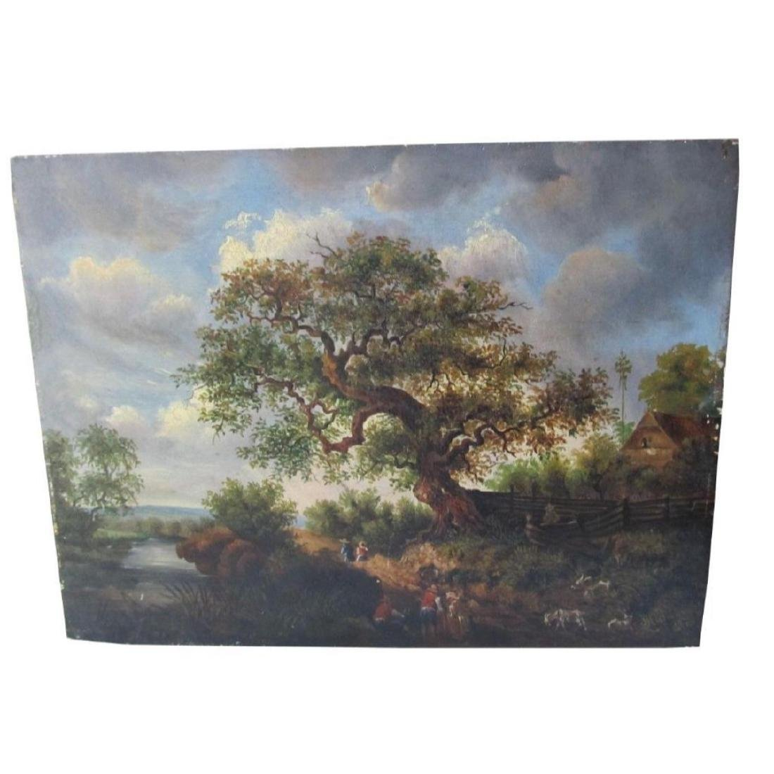 1878 Bucolic Oil Painting On Board Hoffmann - 7