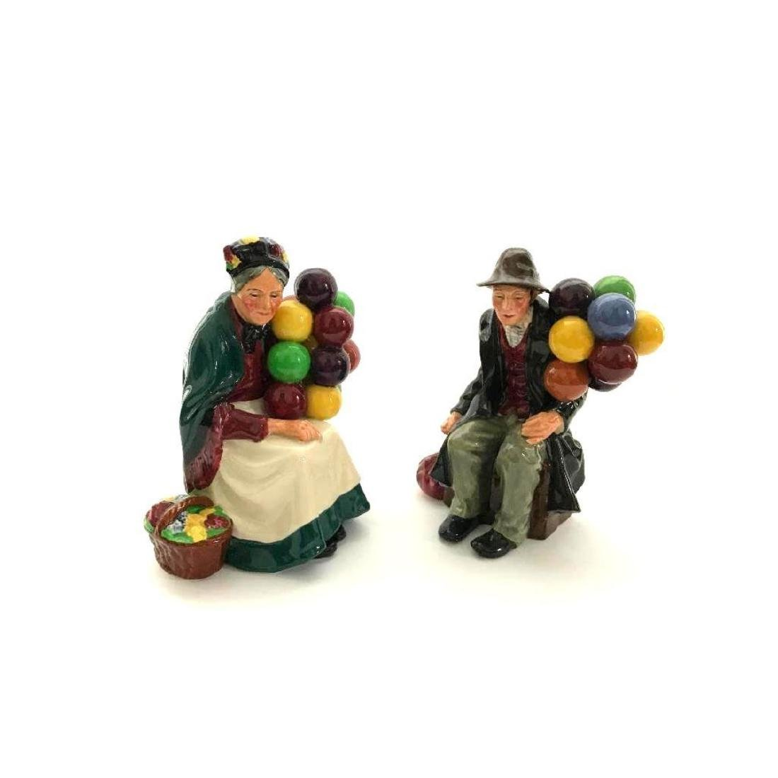 Pair of Retired Royal Doulton Balloon Sellers Porcelain - 3