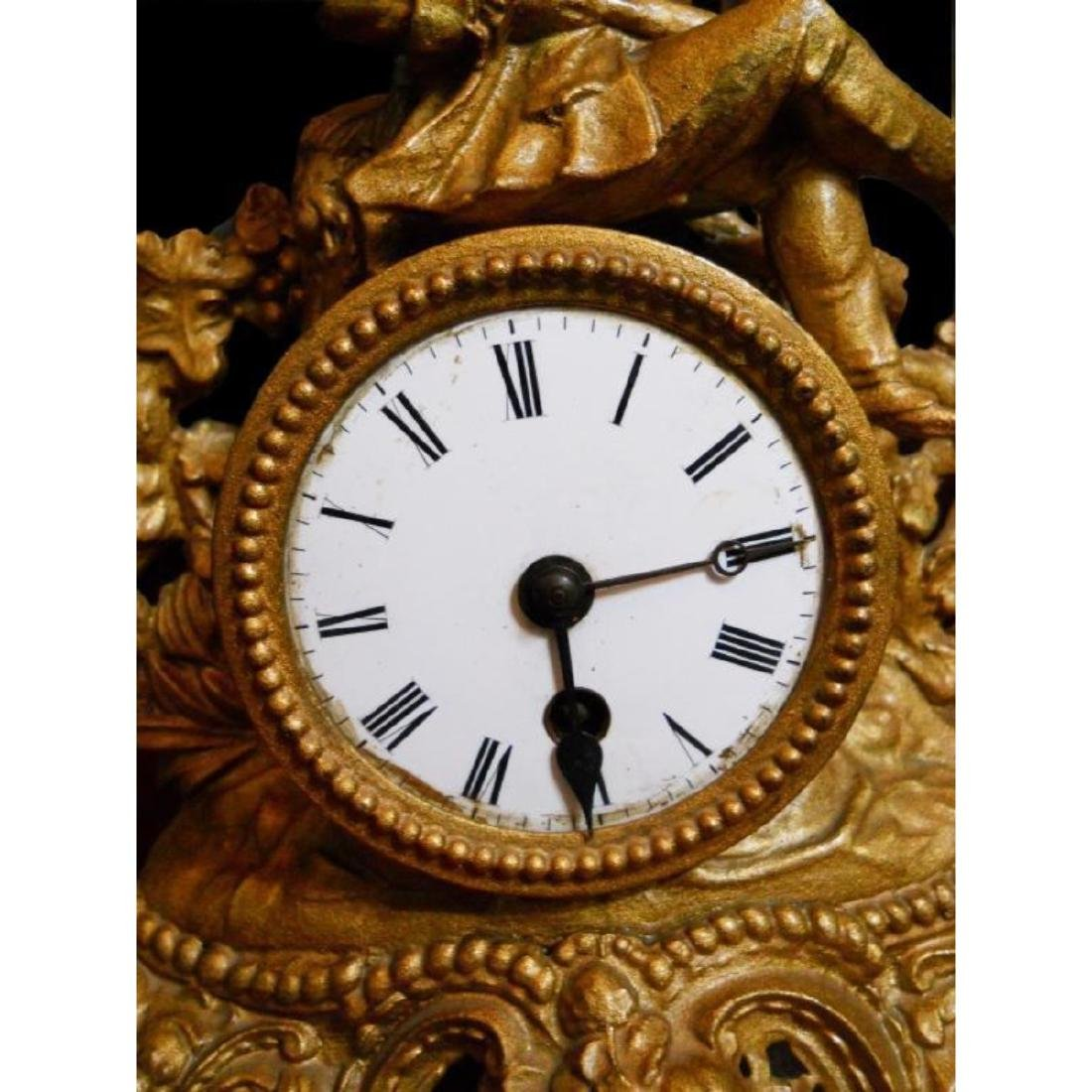 19thc Gold Gilt French Hunting Scene Mantel Clock - 2