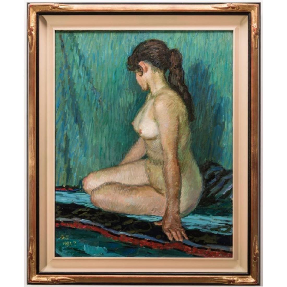 Signed Japanese O/C Impressionist Female Nude