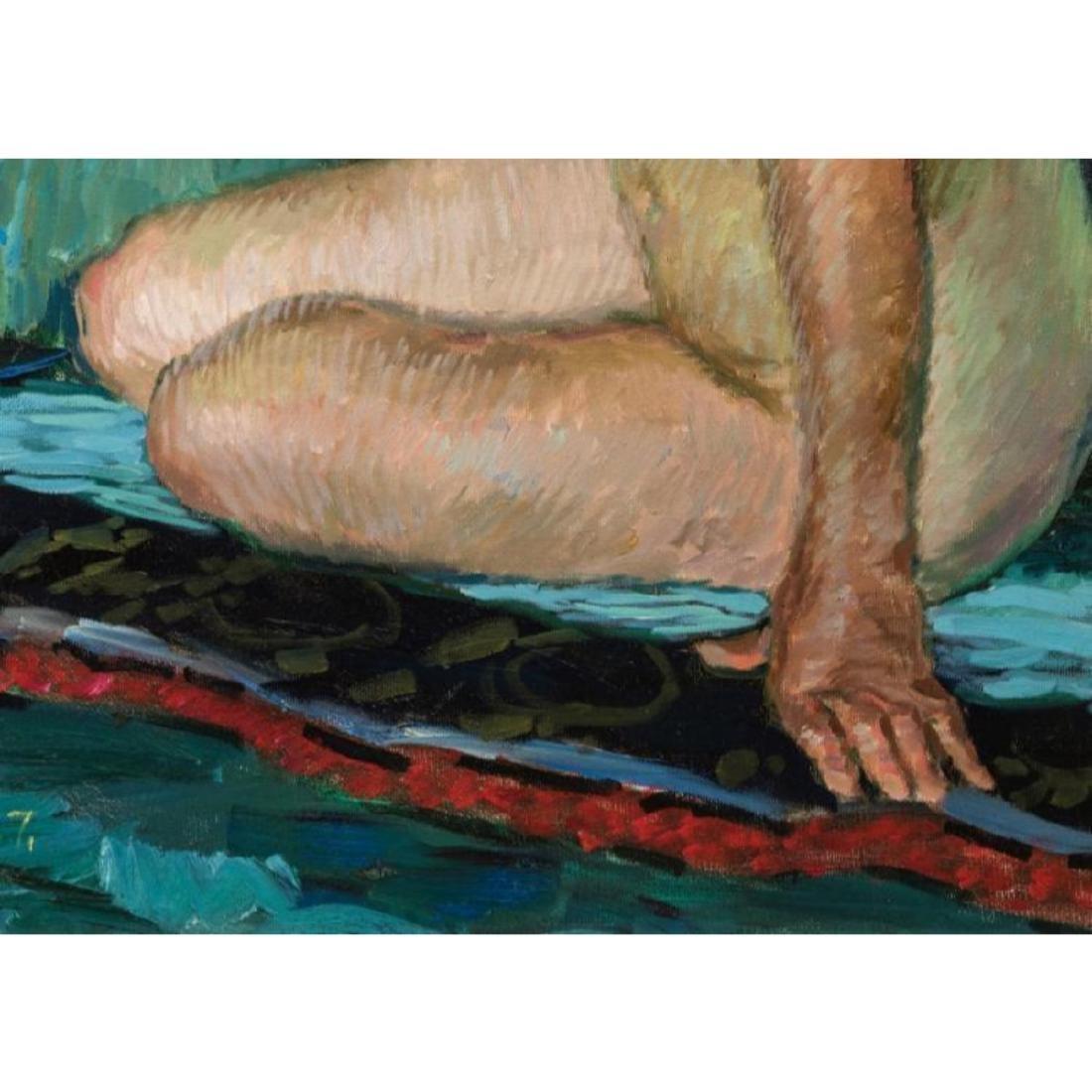 Signed Japanese O/C Impressionist Female Nude - 3