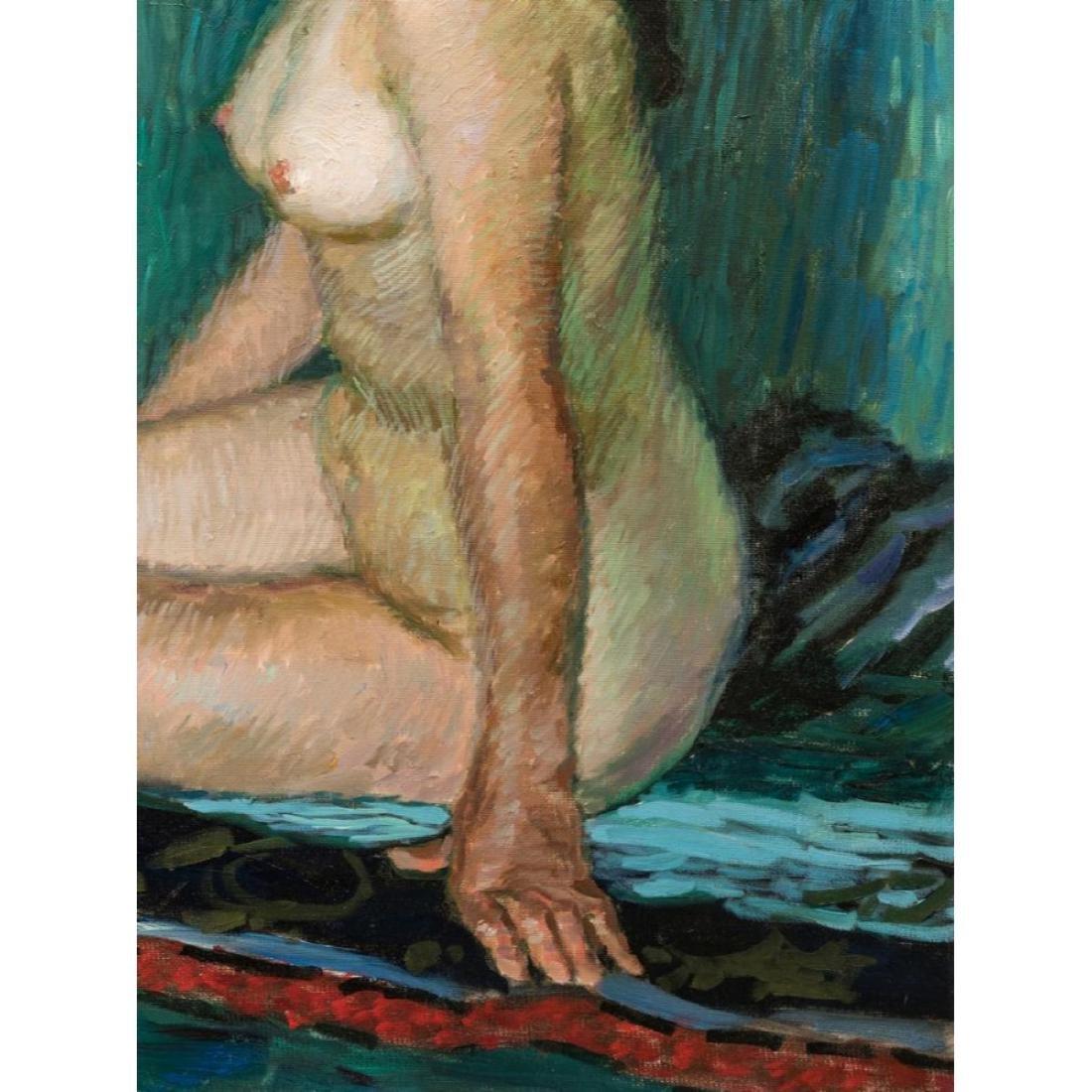 Signed Japanese O/C Impressionist Female Nude - 4