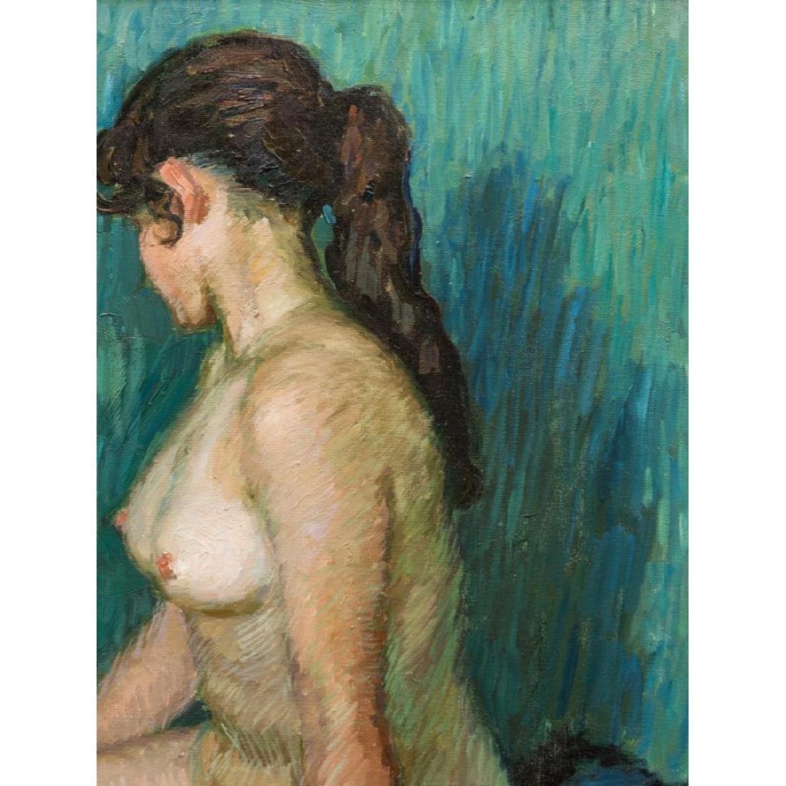 Signed Japanese O/C Impressionist Female Nude - 5