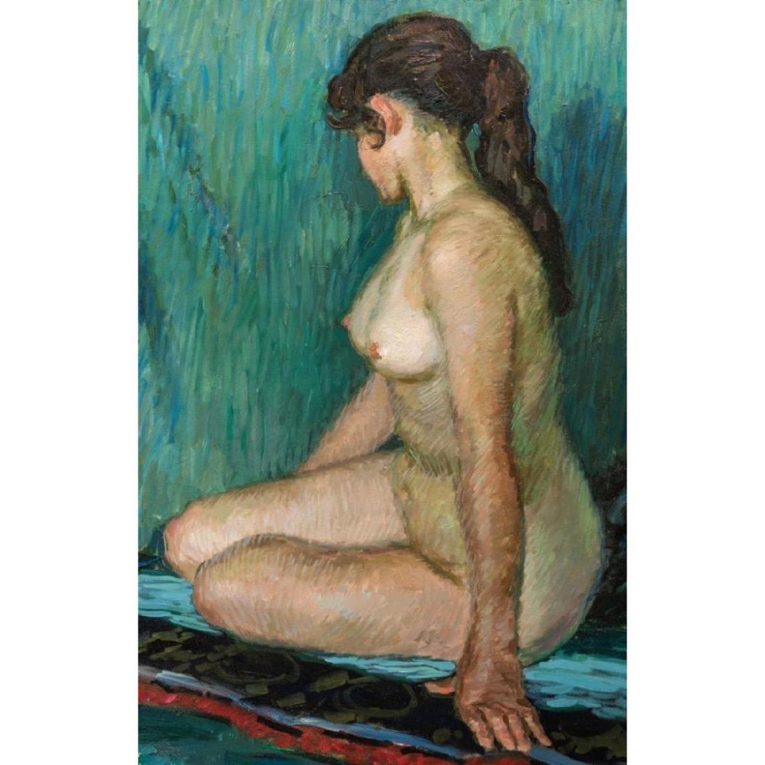 Signed Japanese O/C Impressionist Female Nude - 7