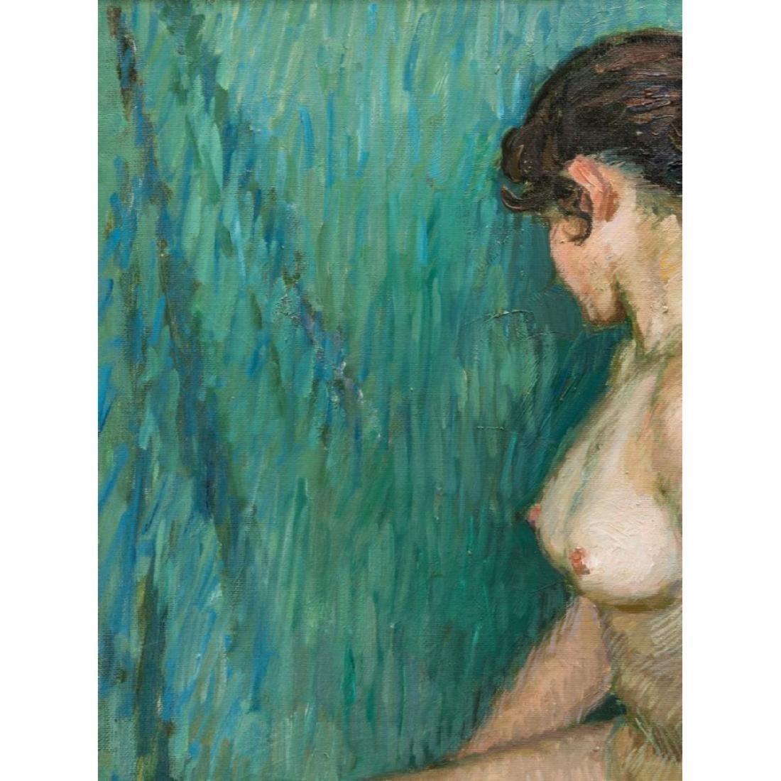 Signed Japanese O/C Impressionist Female Nude - 8