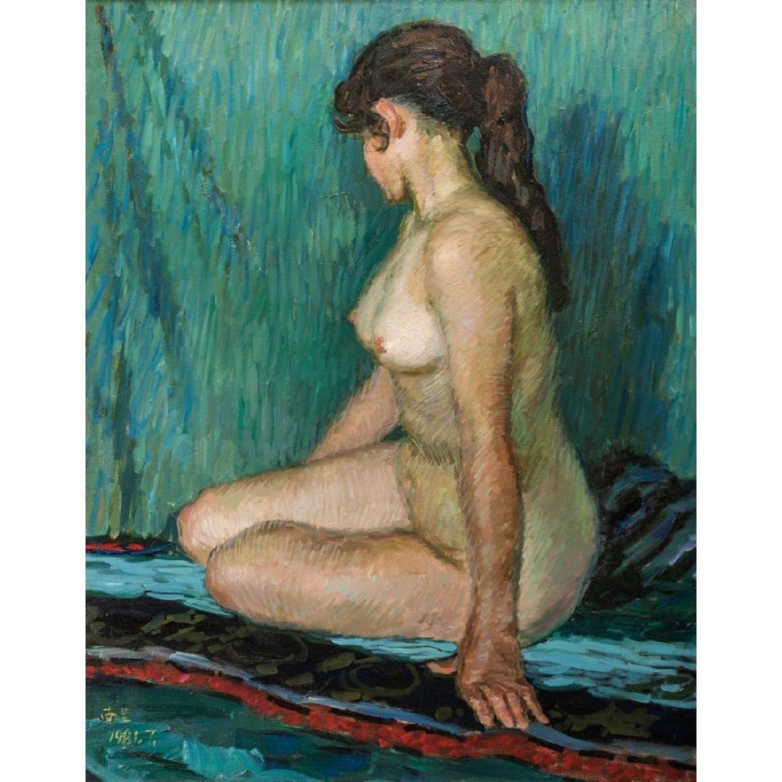 Signed Japanese O/C Impressionist Female Nude - 9