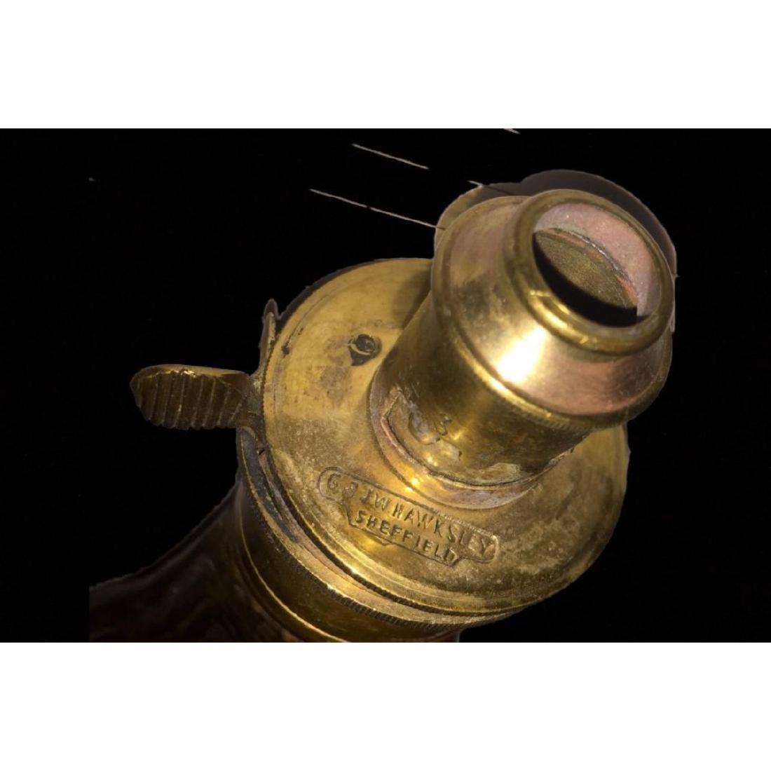 Antique Copper & Brass Black Gun Powder flask G & J.W - 3