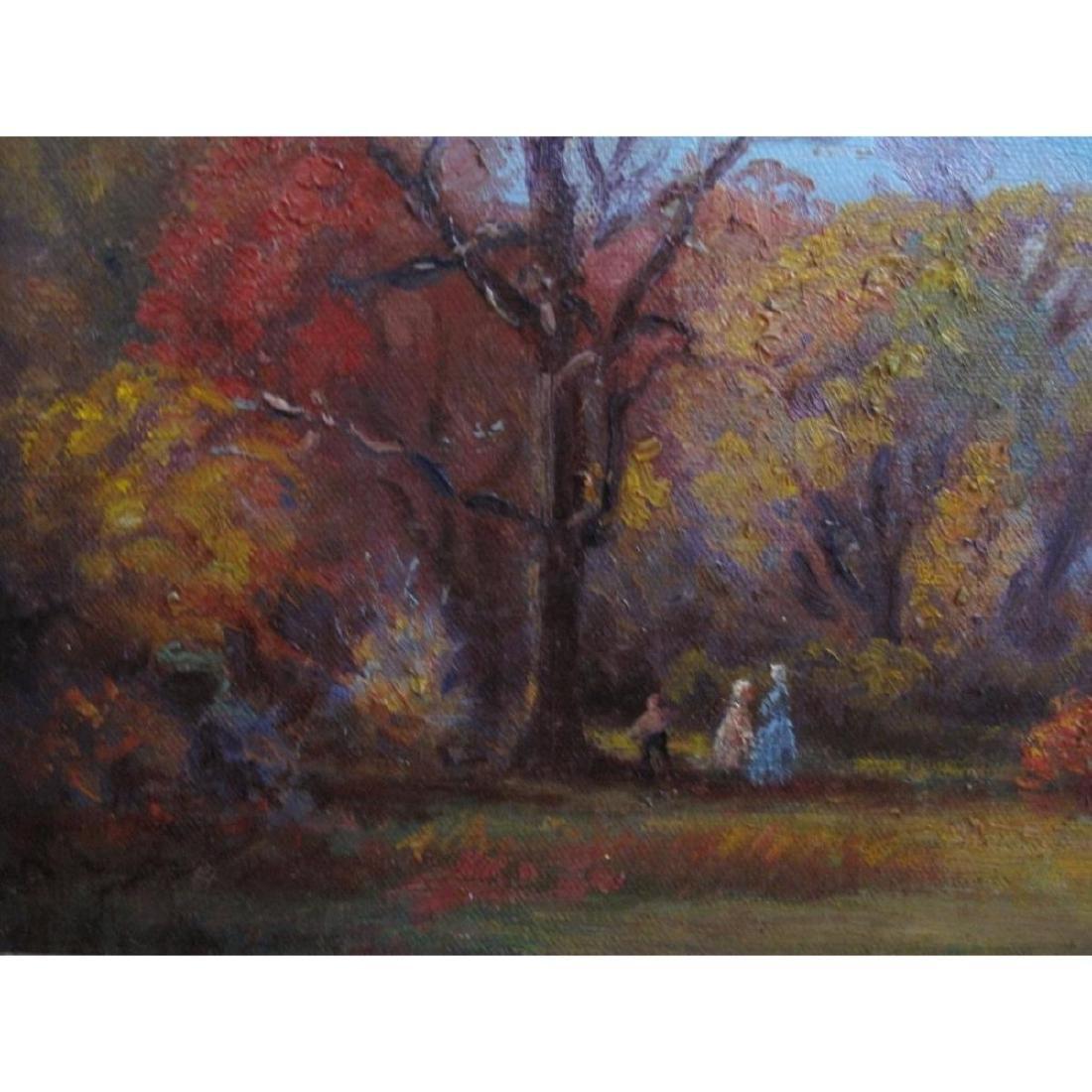 "Antique Original Oil Painting On Canvas ""autumn"" Signed - 10"