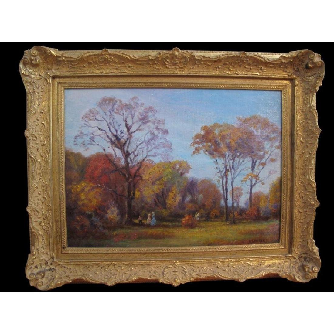 "Antique Original Oil Painting On Canvas ""autumn"" Signed"
