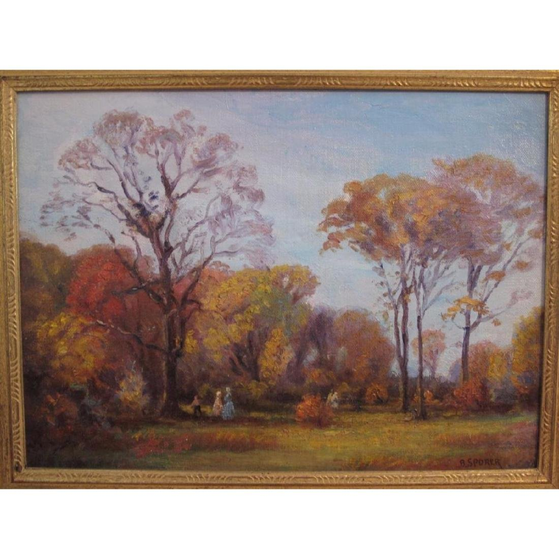 "Antique Original Oil Painting On Canvas ""autumn"" Signed - 2"
