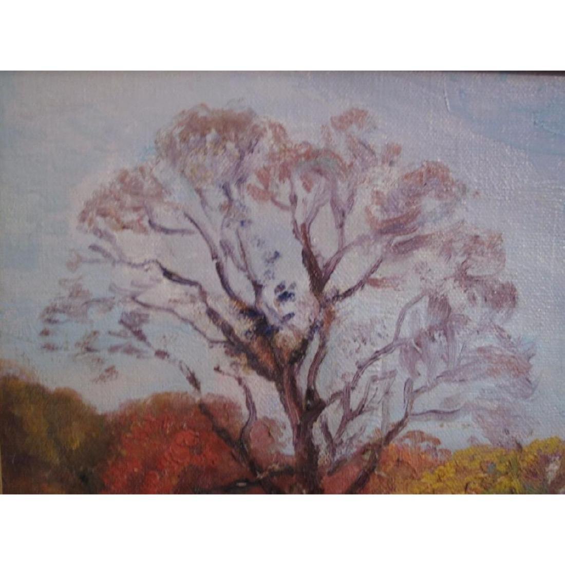 "Antique Original Oil Painting On Canvas ""autumn"" Signed - 3"