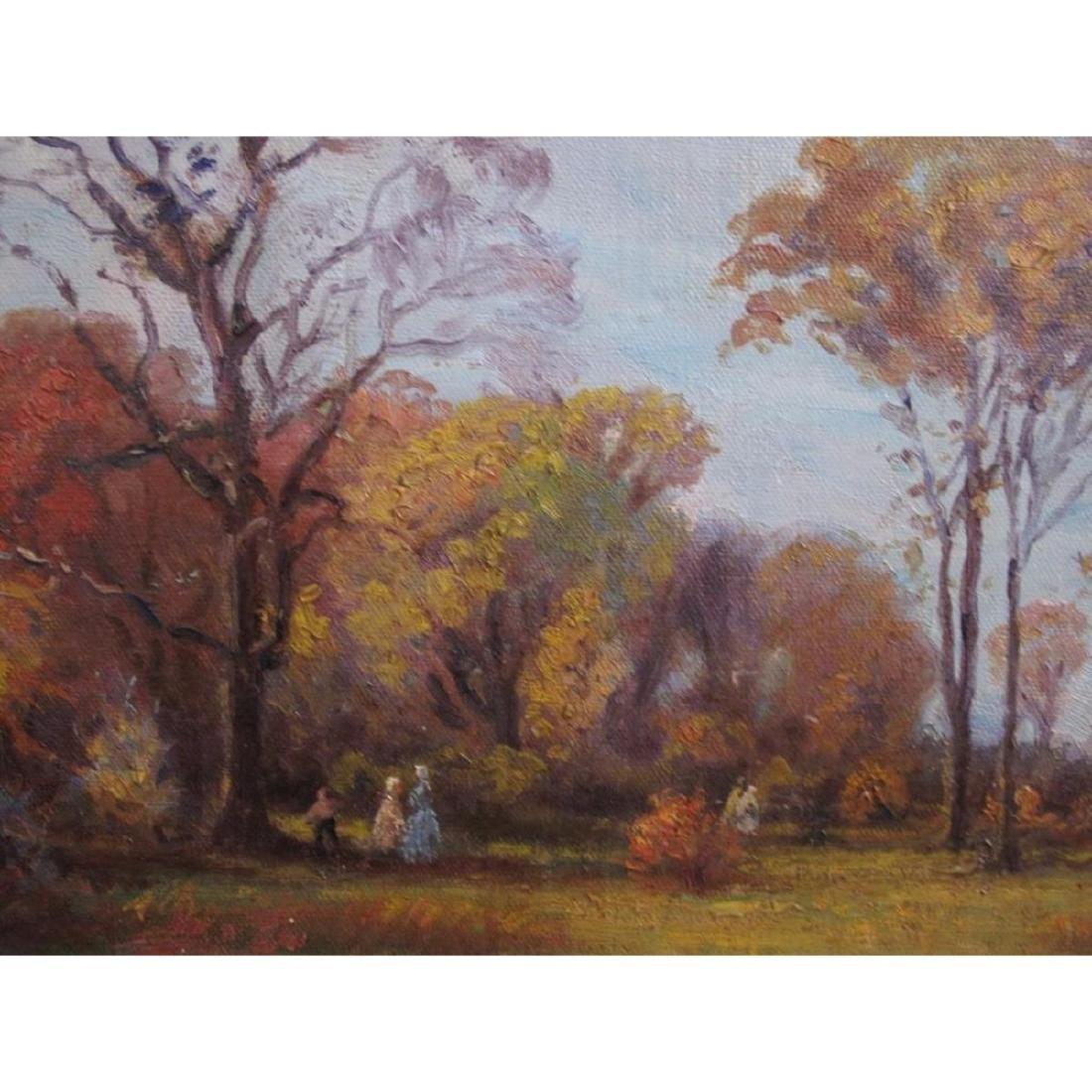 "Antique Original Oil Painting On Canvas ""autumn"" Signed - 5"