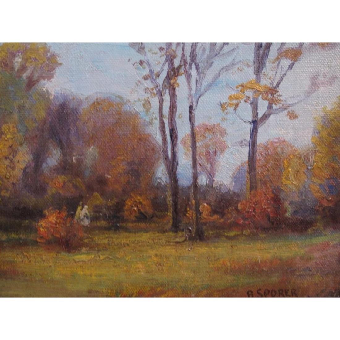 "Antique Original Oil Painting On Canvas ""autumn"" Signed - 7"