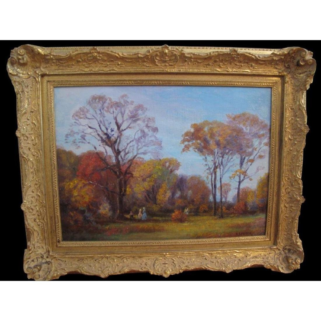 "Antique Original Oil Painting On Canvas ""autumn"" Signed - 9"