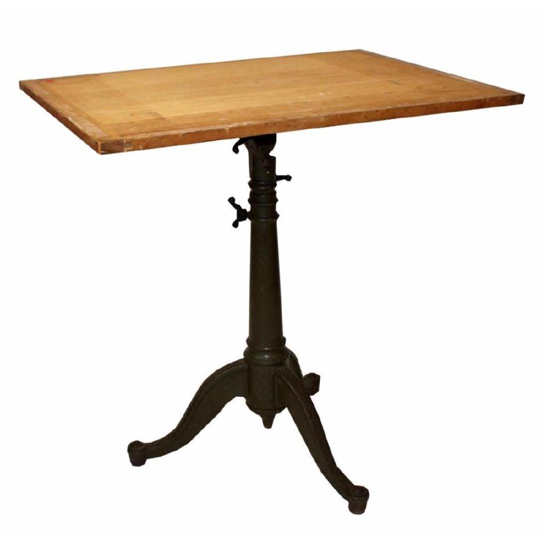 1930's Cast Iron Base Drafting Table