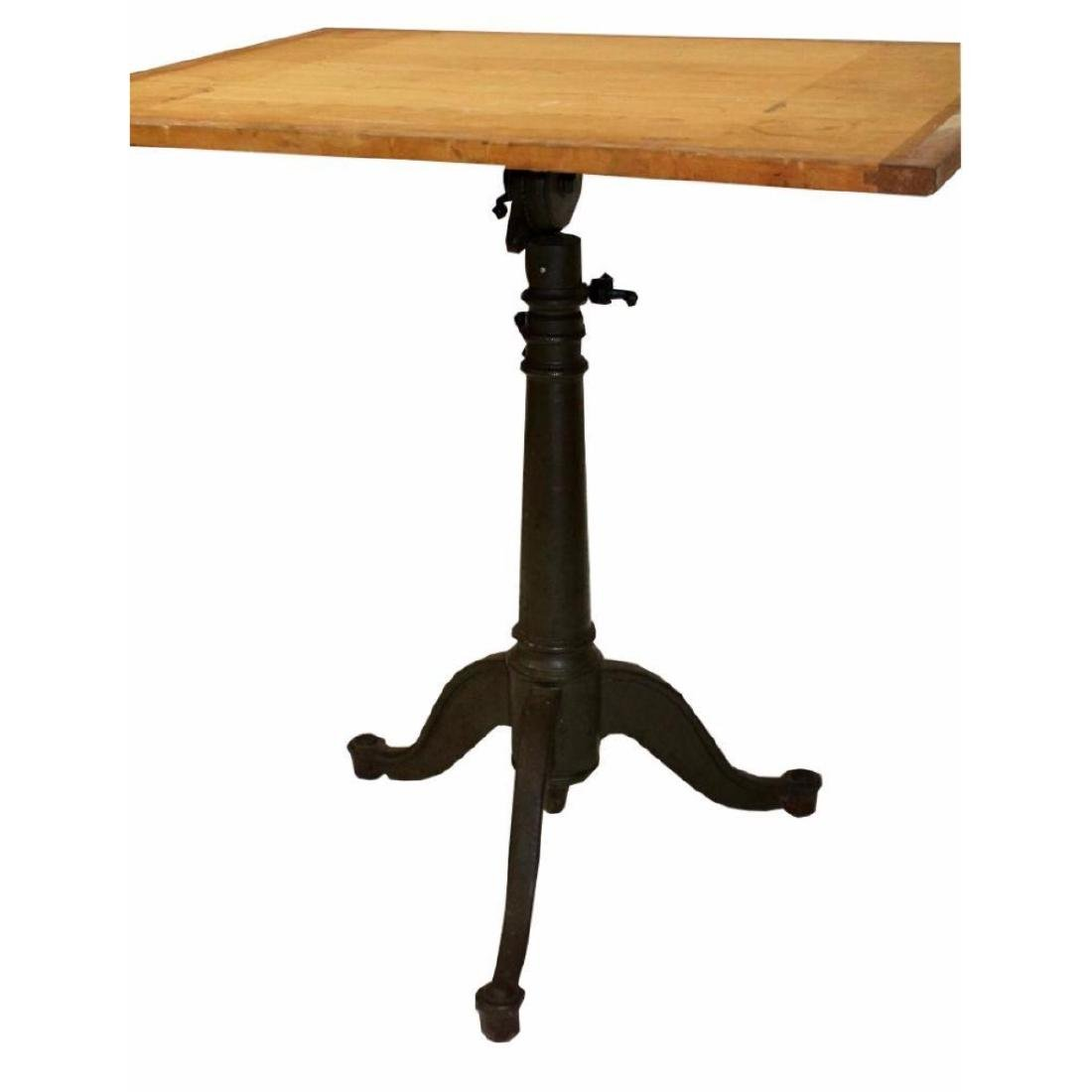 1930's Cast Iron Base Drafting Table - 2