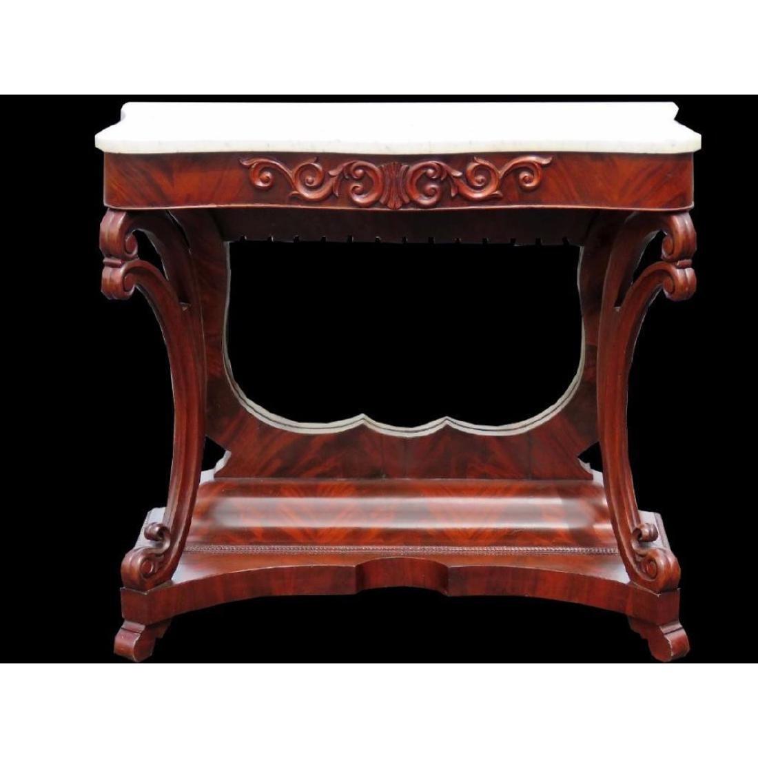 Empire Mahogany Marbletop Console Table - 2