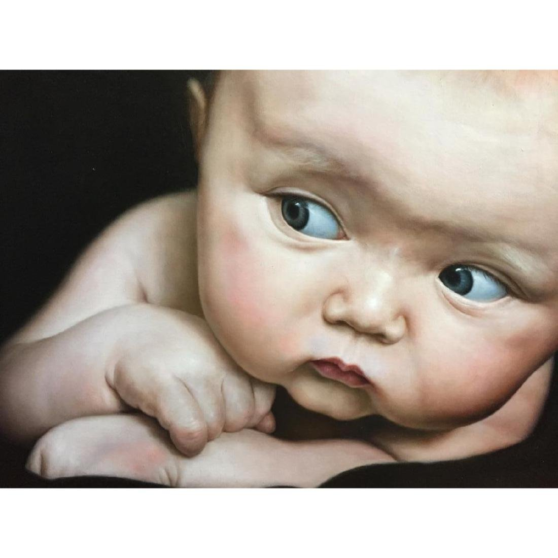 Signed Oil on Canvas Painting, Baby Face