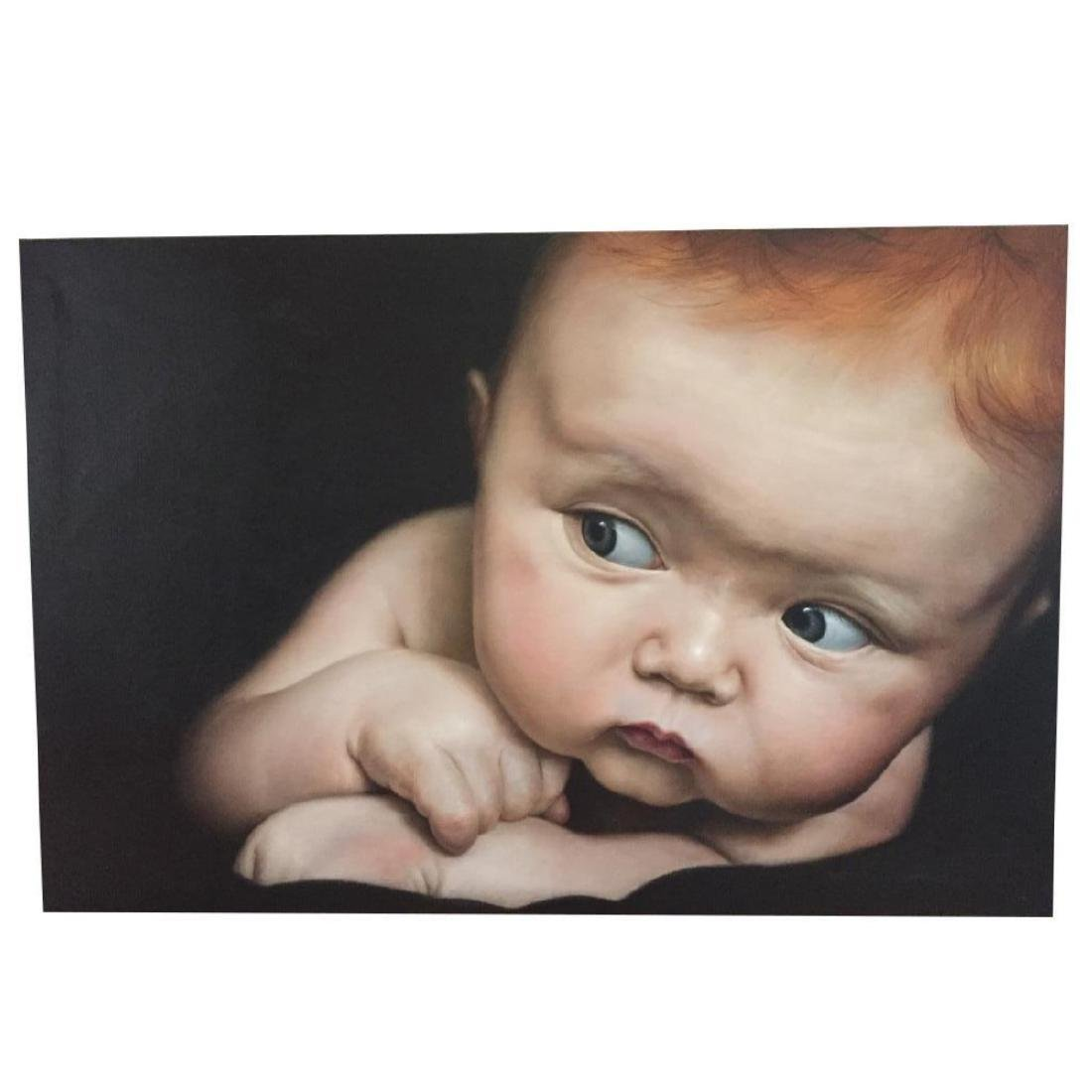 Signed Oil on Canvas Painting, Baby Face - 2