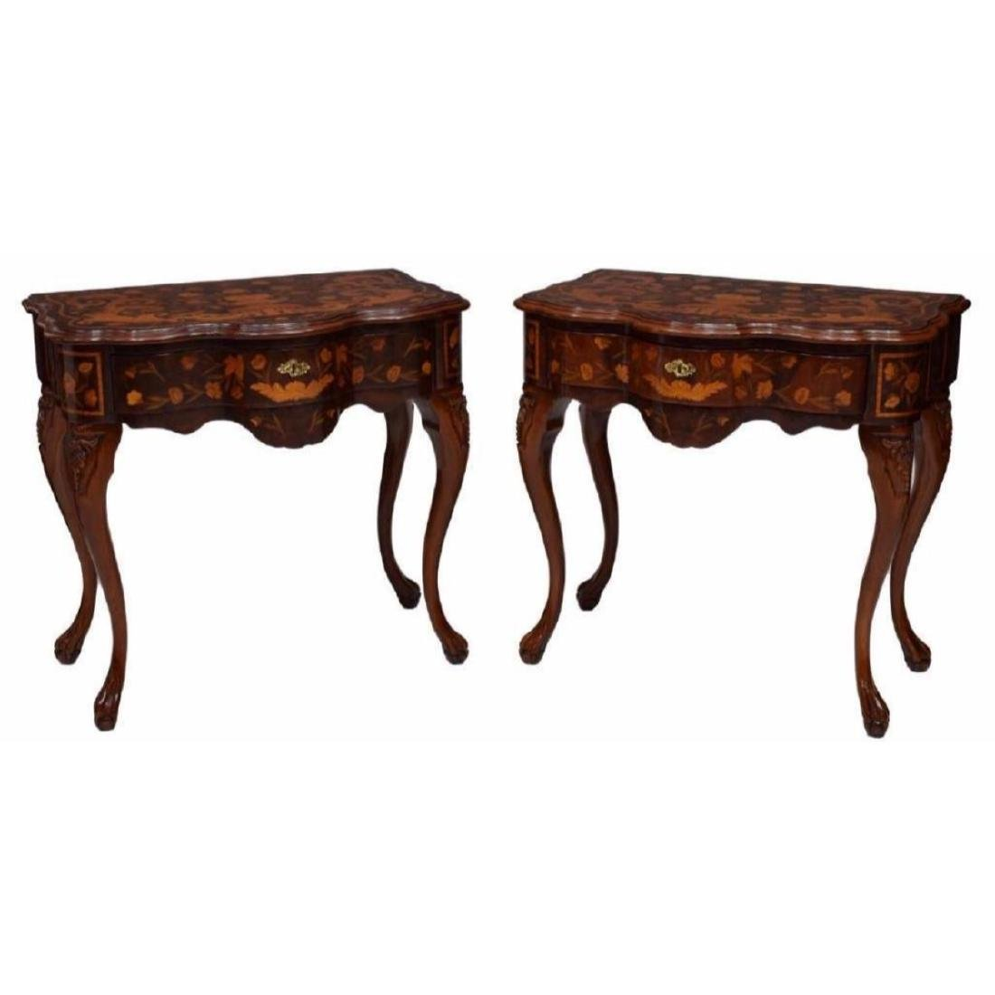 Pair of Italian Floral Inlaid Console Tables