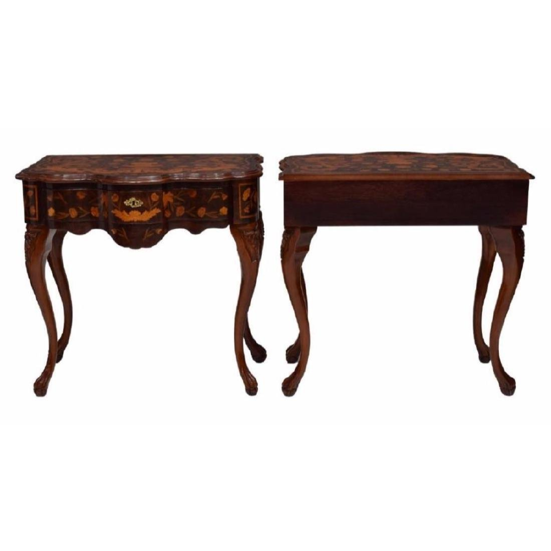 Pair of Italian Floral Inlaid Console Tables - 2