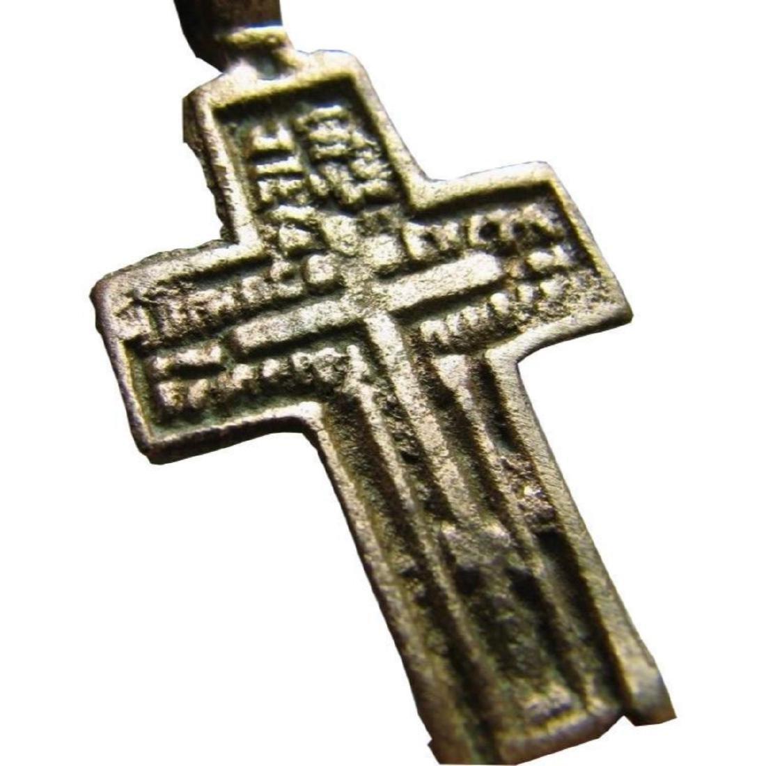 Prayer Big Relief Late Medieval Church Bronze Cross - 7