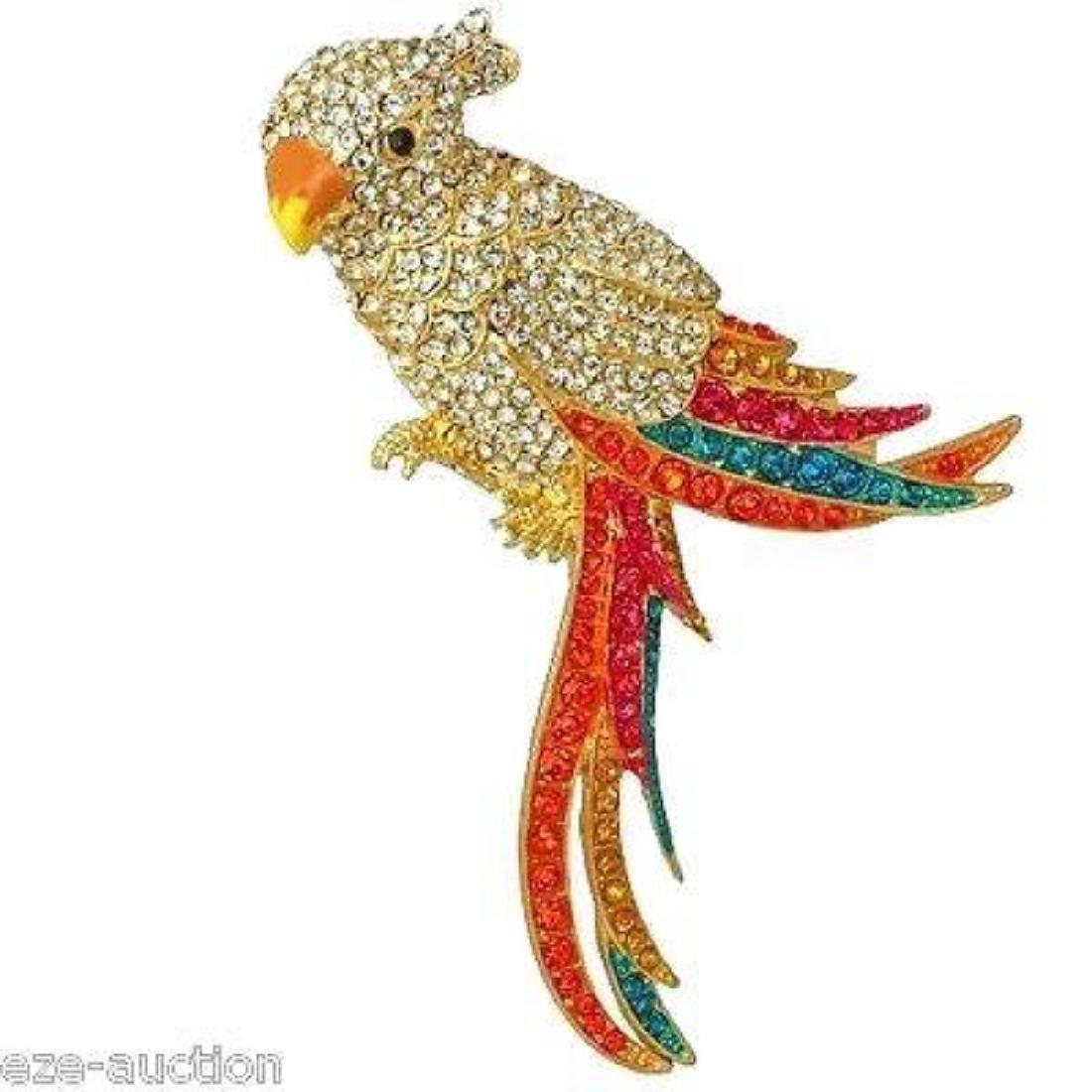 Multicolor Crystal Gold Parrot Brooch / Pin