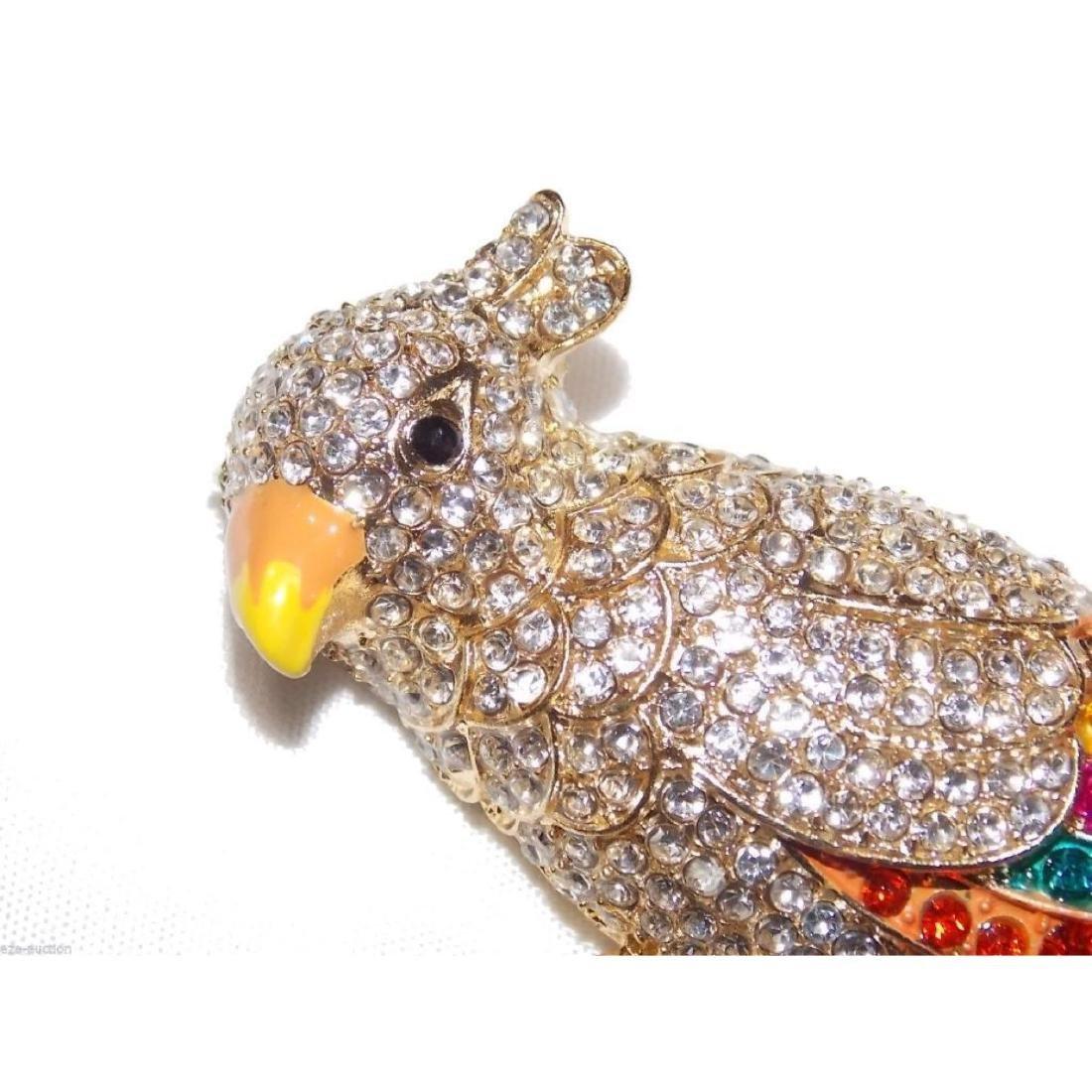 Multicolor Crystal Gold Parrot Brooch / Pin - 2