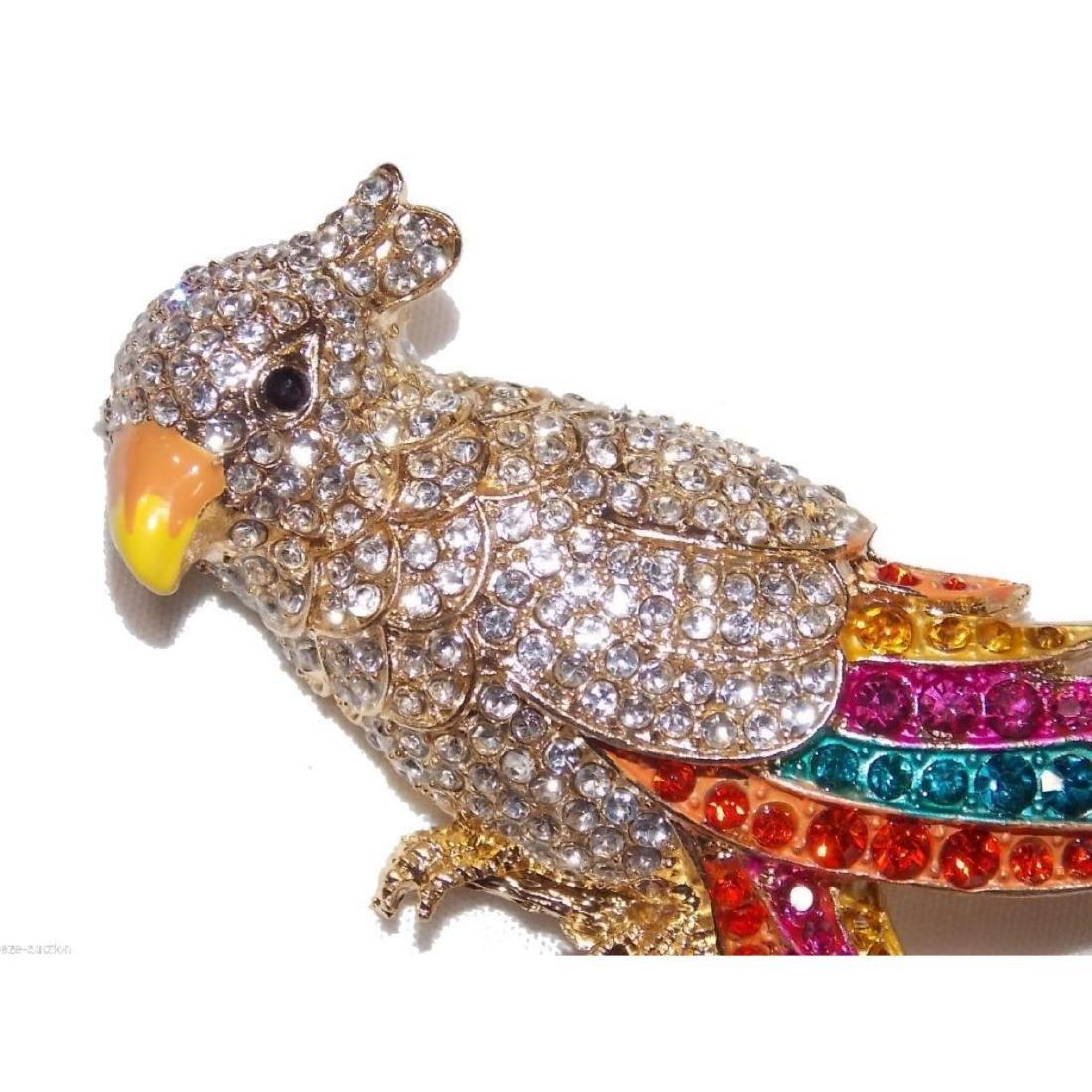 Multicolor Crystal Gold Parrot Brooch / Pin - 3