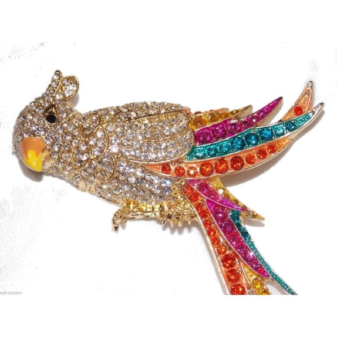 Multicolor Crystal Gold Parrot Brooch / Pin - 4
