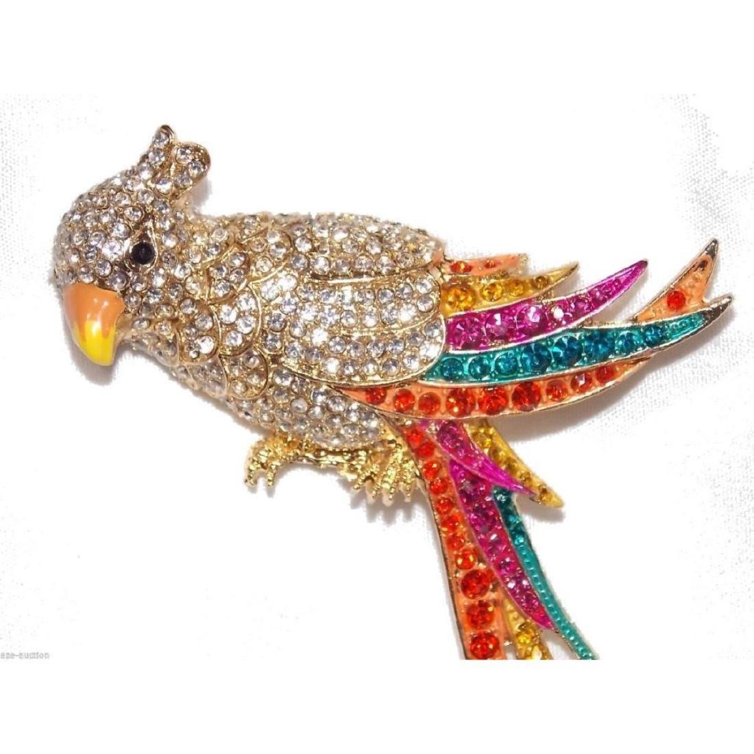 Multicolor Crystal Gold Parrot Brooch / Pin - 5