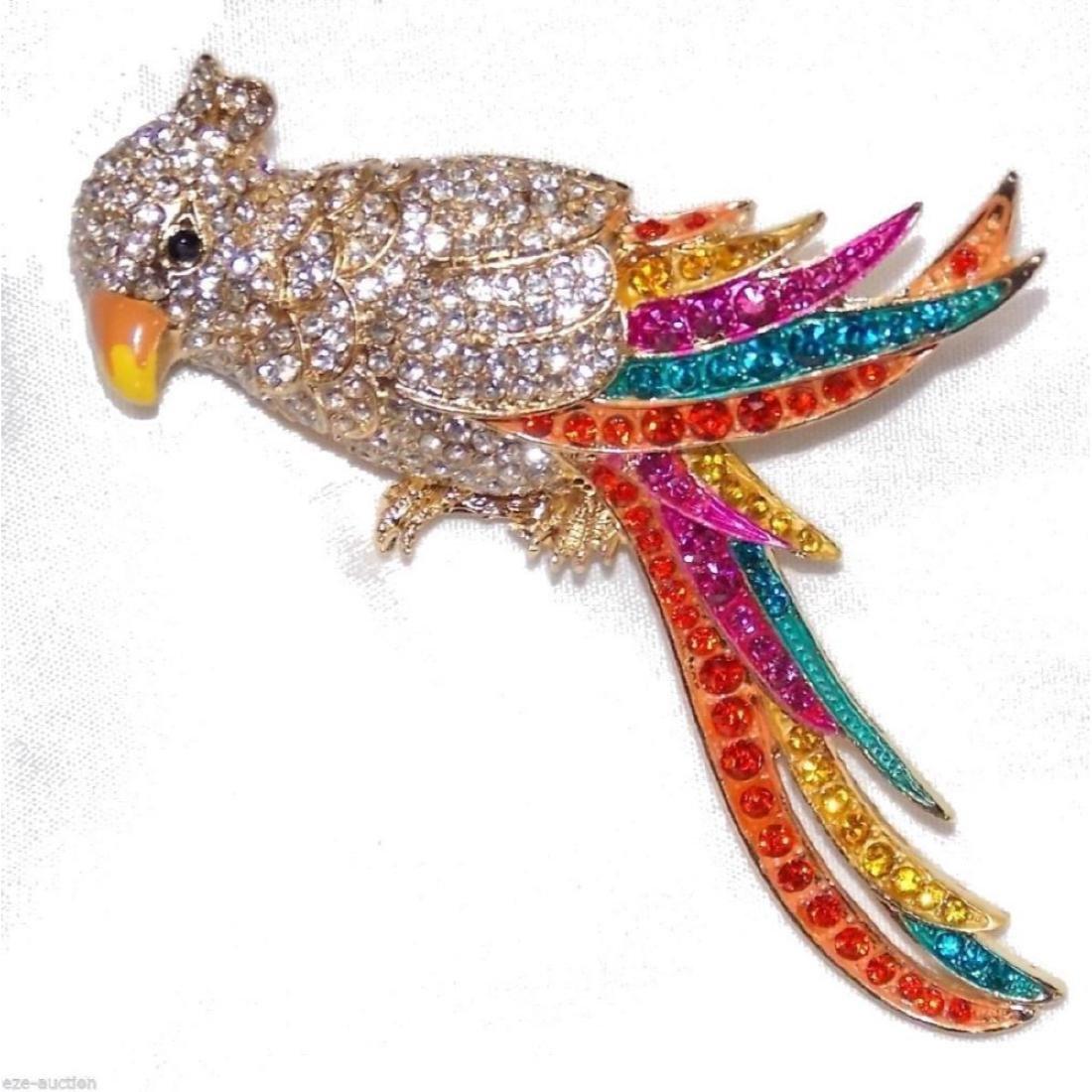 Multicolor Crystal Gold Parrot Brooch / Pin - 7