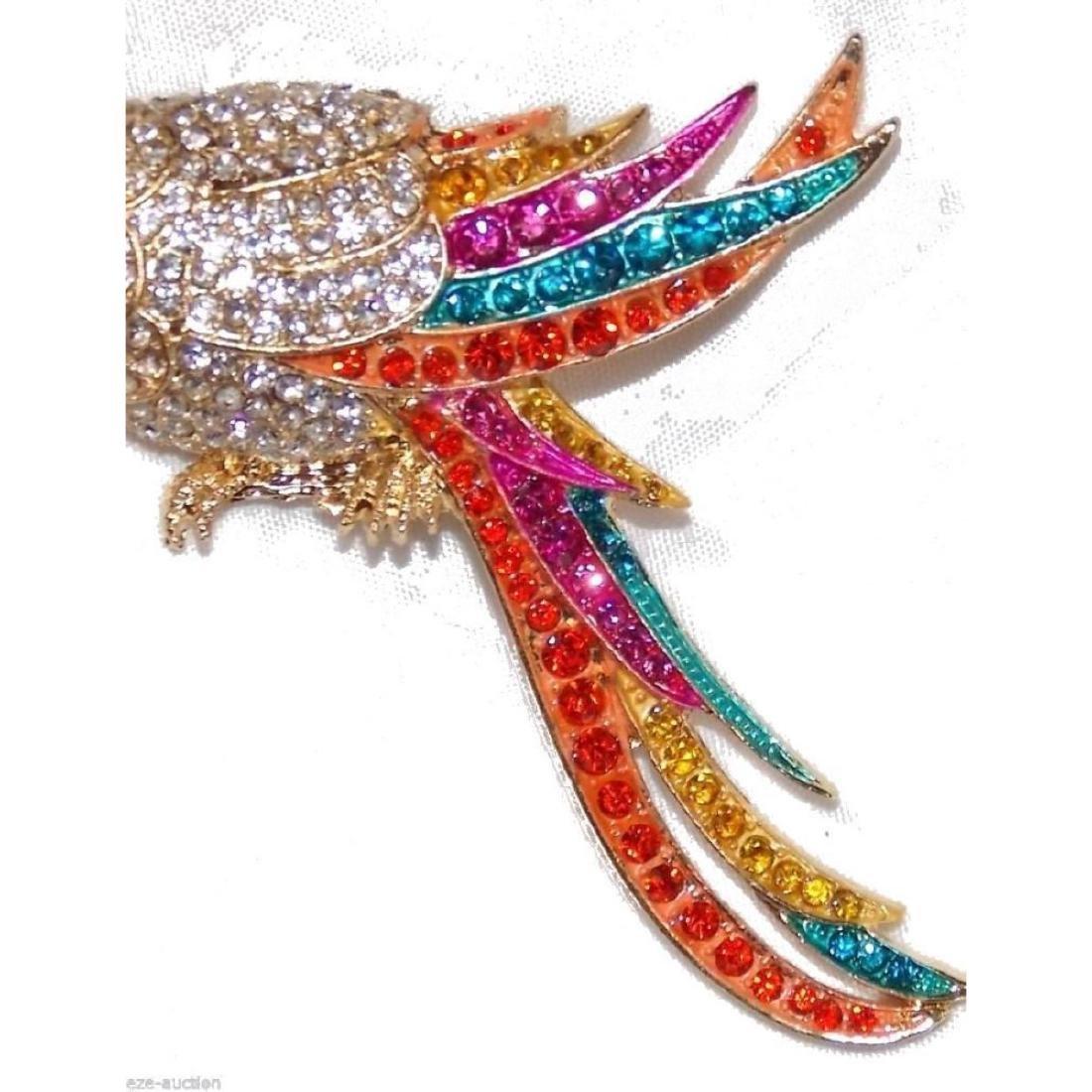Multicolor Crystal Gold Parrot Brooch / Pin - 8